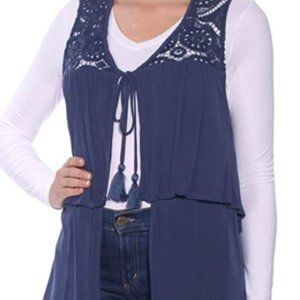 August Silk Tiered Crochet-Contrast Vest